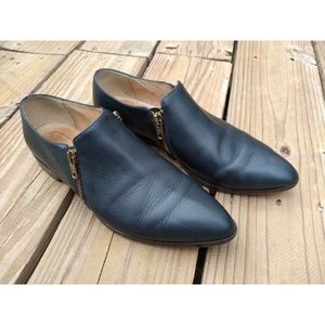 J Crew Leather Navy Blue Double Zip Loafers A9822